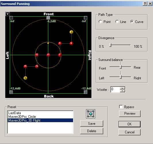 Geluid in Maven3D kan door bolletjes te plaatsen iedere gewenste richting worden opgestuurd.