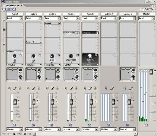 De audiomixer van Première doet niet onder voor menig audiopakket.