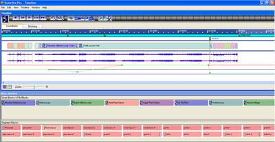 Met losse muziek segmenten bouwt u op de tijdlijn uw eigen compositie.
