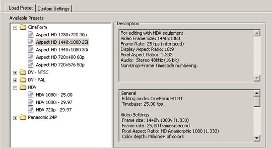 Adobe Première maakt gebruik van Aspect HD om hdv-materiaal te monteren.