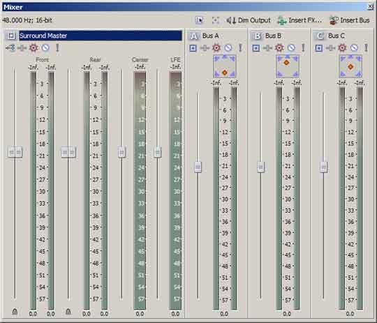 5.1 geluid positioneren is eenvoudig in de audiomixer.