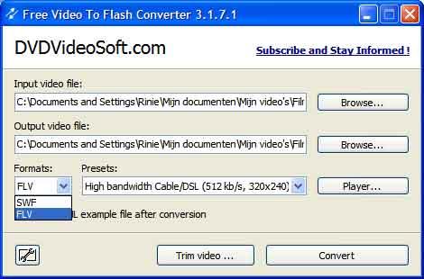 Video to flash ook voor swf bestanden.