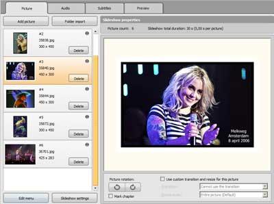 Met DivX Author kunt u voortreffelijke slideshows maken.