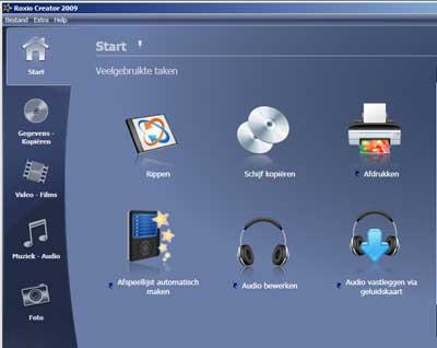 roxio-creator-2009-startscherm